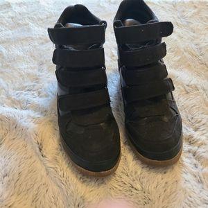 Black Sneakers with Wedge Heels Size 8
